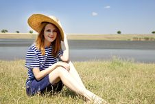 Free Redhead Girl At Countryside Nead Lake. Stock Photos - 20064373