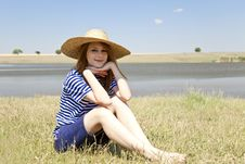 Free Redhead Girl At Countryside Nead Lake. Royalty Free Stock Images - 20064379