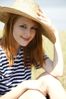 Free Redhead Girl At Countryside Nead Lake. Royalty Free Stock Photos - 20064388