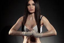 Free Beautiful Woman Boxer Portrait Stock Images - 20064584