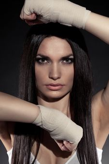 Free Beautiful Woman Boxer Portrait Stock Image - 20064601