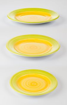 Set Of Color Round Plates Or Dishes Royalty Free Stock Image