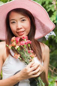 Free Girl With Flower Royalty Free Stock Image - 20065616