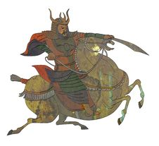 Free Samurai Warrior With Sword Riding Horse Royalty Free Stock Photos - 20066588