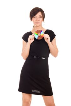 Free Young Woman Holding Audio Disk Stock Photo - 20066620