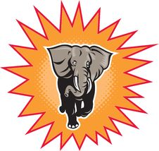 Free African Elephant Charging Halftone Dots Stock Photography - 20066622