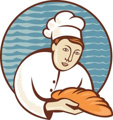 Free Baker Chef With Loaf Of Bread Retro Royalty Free Stock Photo - 20066625