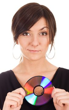 Free Young Woman Holding Audio Disk Stock Photo - 20066680