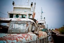 Old Boat Near The Pier Royalty Free Stock Photography