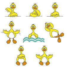 Free Cute Duck Set Royalty Free Stock Photo - 20068385