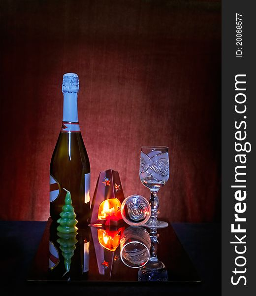 Still life with fired candel