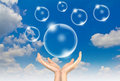 Free Hand Hold Bubbles In The Sky Stock Photo - 20073040