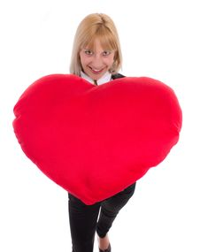 Free Woman With Red Heart Royalty Free Stock Photography - 20070427