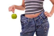Free Successful Diet With Green Apple Royalty Free Stock Image - 20070776