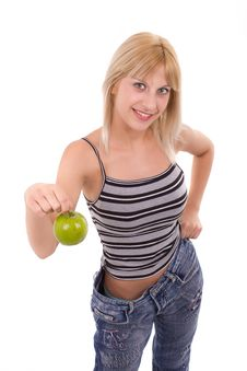 Free Woman With Green Apple Royalty Free Stock Photos - 20070818