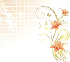 Free Frame With Lilies. Pattern For Design Royalty Free Stock Images - 20070959