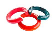 Free Many Colorful Bracelet Isolate On The White. Royalty Free Stock Image - 20071176