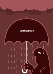 Free Man And Umbrella.Vector Raining Poster Royalty Free Stock Images - 20071189