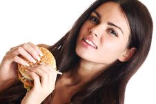Free Woman Eat Burger Royalty Free Stock Image - 20071546
