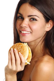 Free Woman Eat Burger Royalty Free Stock Images - 20071559