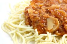Spaghetti Bolognese In Close Up Royalty Free Stock Photo