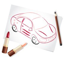 Free Girl Car Painted With Make-up Stuff Royalty Free Stock Photos - 20072508