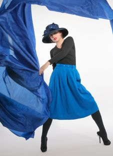 Woman And Flying Blue. Royalty Free Stock Images