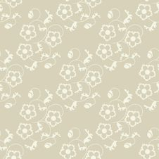 Free Seamless Flowers Beige Background. Stock Photo - 20072760