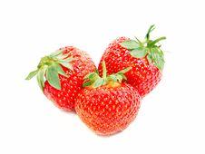 Free Three Strawberries Isolated On White Stock Image - 20073841