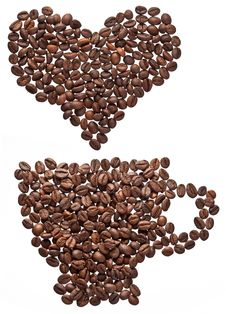 Coffee Beans In Form Of Heart.