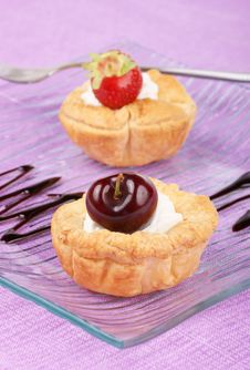 Fruit Tarts With Whipped Cream Royalty Free Stock Photos