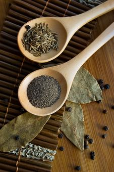 Pepper, Cumin And Bay Leaf Royalty Free Stock Photo