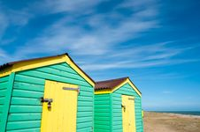 Free Green And Yellow  Beach Huts In Summer Stock Images - 20076444