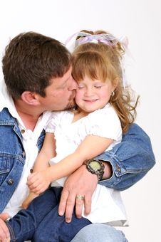 Free Young Father And Toddler Girl Sitting And Smiling Royalty Free Stock Photo - 20076875