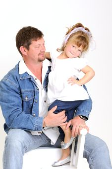 Free Young Father And Toddler Girl Dressed In White Royalty Free Stock Photography - 20076877