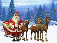 Free Santa With Reindeers Stock Photo - 20077130