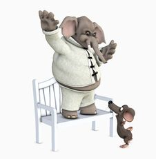 Mouse And Elephant Stock Image