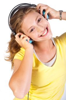 Free Attractive Girl Enjoying Music Royalty Free Stock Image - 20079056