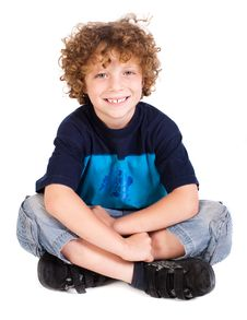 Free Cheerful Kid Relaxing On Floor Royalty Free Stock Photo - 20079085