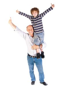 Free Grandfather Giving Grandson Piggy-back Stock Photography - 20079122