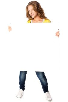 Free Beautiful Woman Holding Empty White Board Royalty Free Stock Photo - 20079125