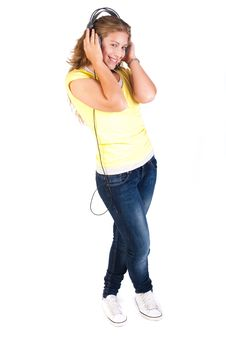 Free Cheerful Caucasian Woman Listening Stock Photo - 20079130