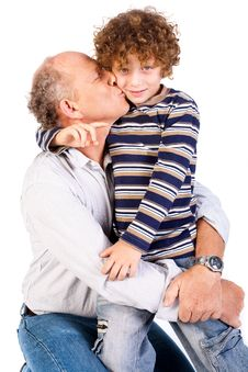 Free Grandson Kissing His Grandfather Royalty Free Stock Image - 20079156