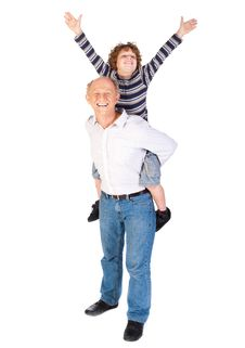 Free Grandfather Giving Grandson Piggy-back Stock Images - 20079164