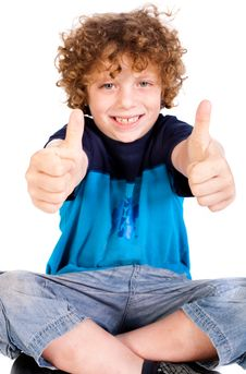 Young Kid Showing Double Thumbs Up Royalty Free Stock Image