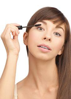 Free Beautiful Woman Applying Mascara Royalty Free Stock Photo - 20079225