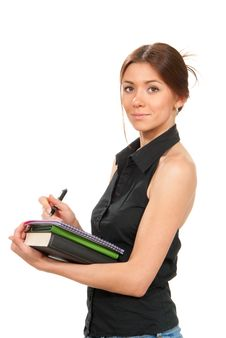 Pretty Business Woman Thinking Royalty Free Stock Photos