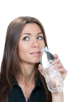 Free Woman Drinking Mineral Water Royalty Free Stock Photos - 20079488