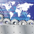 Free Metal Plate And Gears World Map With Arrows Royalty Free Stock Photo - 20084645
