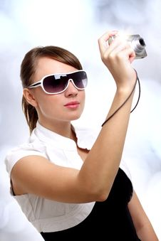 Free Young Stylish Woman With A Camera Stock Photography - 20084192